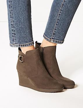 Wide Fit Wedge Heel Side Zip Ankle Boots, MINK, catlanding
