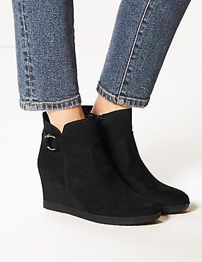 Wide Fit Wedge Heel Side Zip Ankle Boots, BLACK, catlanding
