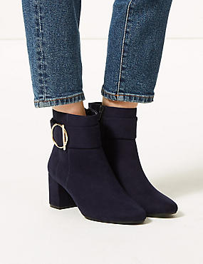 Wide Fit Side Buckle Ankle Boots, NAVY, catlanding