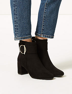 Wide Fit Side Buckle Ankle Boots, BLACK, catlanding