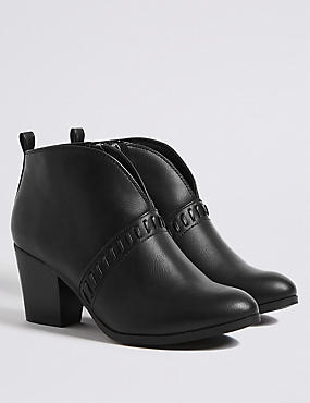 Extra Wide Fit Block Heel Ankle Boots, BLACK, catlanding