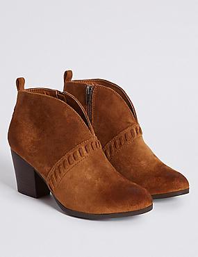 Extra Wide Fit Block Heel Ankle Boots , TAN, catlanding