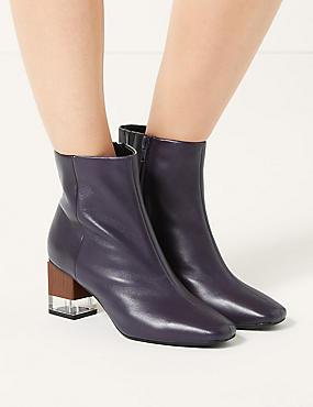 Feature Heel Leather Ankle Boots, PURPLE, catlanding