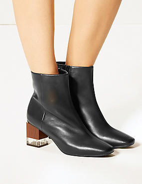 Feature Heel Leather Ankle Boots, BLACK, catlanding
