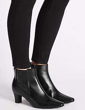 Leather Block Heel Elegant Ankle Boots