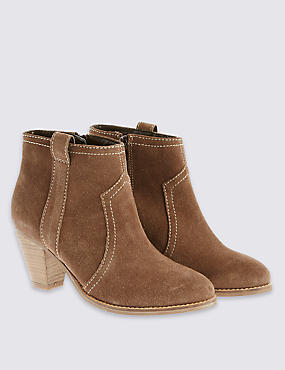 Suede Mid Heel Ankle Boots with Insolia®
