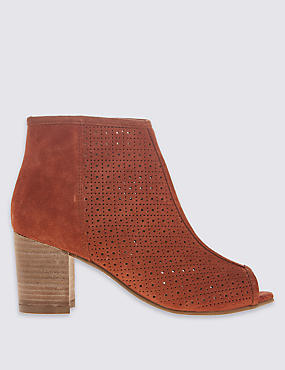 Suede Block Heel Side Zip Ankle Boots