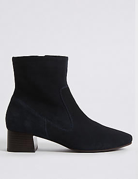 Suede Block Heel Almond Toe Ankle Boots