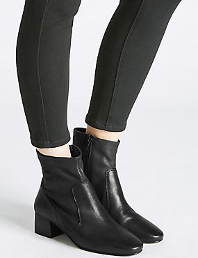Leather Block Heel Almond Toe Ankle Boots