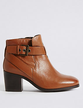 Leather Block Heel Strap Ankle Boots