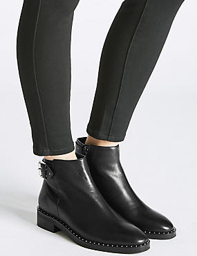 Leather Block Heel Strap Stud Ankle Boots