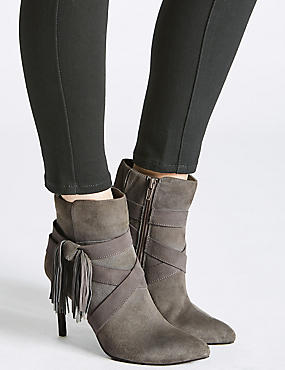 Leather Stiletto Tassel Pointed Ankle Boots