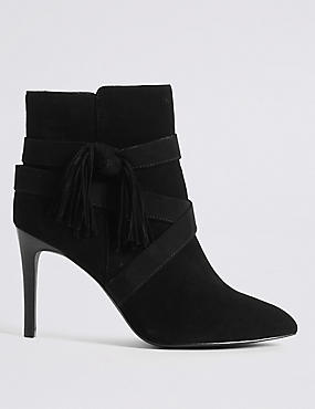Suede Stiletto Tassel Pointed Ankle Boots