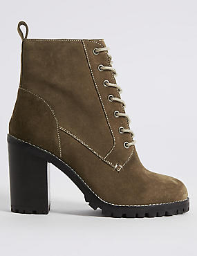 Suede Block Heel Lace-up Ankle Boots