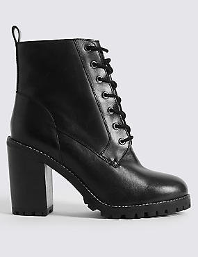 Leather Block Heel Side Zip Ankle Boots