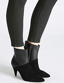 Leather Side Zip Pointed Ankle Boots