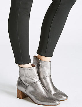 Leather Block Heel Panel Ankle Boots