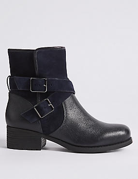 Leather Block Heel Biker Ankle Boots