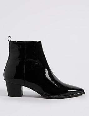 Leather Block Heel Pointed Ankle Boots