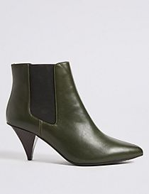Leather Cone Heel Elastic Ankle Boots