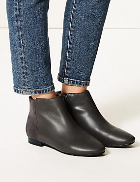 Leather Side Zip Ankle Boots , GREY MIX, catlanding
