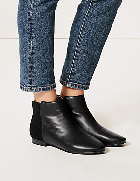 Leather Side Zip Ankle Boots , BLACK MIX, catlanding
