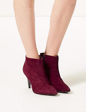 Suede Side Zip Smart Point Ankle Boots, WINE, catlanding