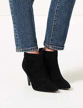 Suede Side Zip Smart Point Ankle Boots, BLACK, catlanding