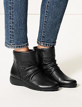 Leather Wedge Heel Side Zip Ankle Boots, BLACK, catlanding