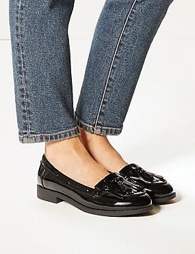 Wide Fit Block Heel Tassel Loafers , BLACK PATENT, catlanding