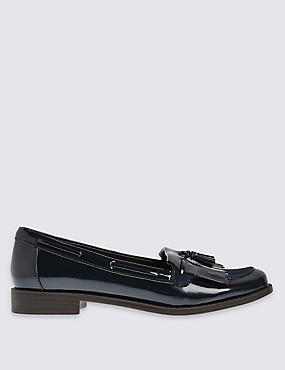 Block Heel Tassel Loafers