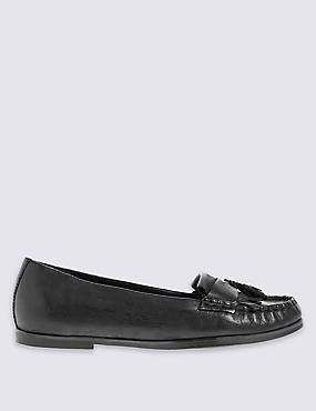 Round Toe Fringe Trim Loafers with Insolia Flex®