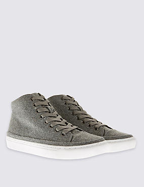 Lace Up Felt High Top Trainers with Insolia Flex®