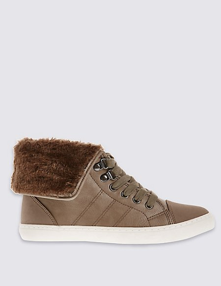 Lace Up Faux Fur High Top Trainers