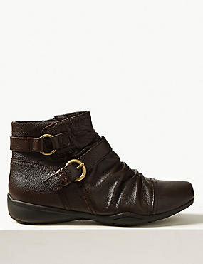 Leather Ruched Ankle Boots , CHOCOLATE, catlanding