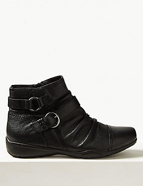 Leather Ruched Ankle Boots , BLACK, catlanding
