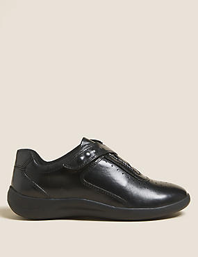 Leather Wedge Heel Sporty Riptape Trainers