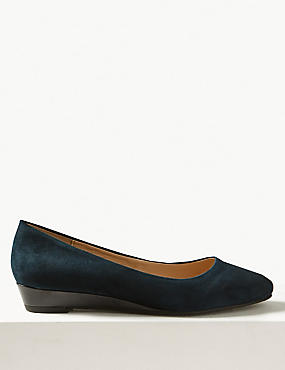 Leather Wedge Heel Court Shoes