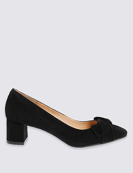Suede Angular Heel Bow Court Shoes