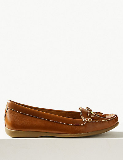 Leather Bow Boat Shoes   M&S