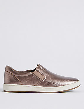 Leather Slip-on Slab Sole Trainers