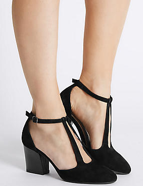 Suede Angular Heel Court Shoes