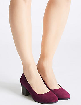 Suede Block Heel Crepe Effect Court Shoes