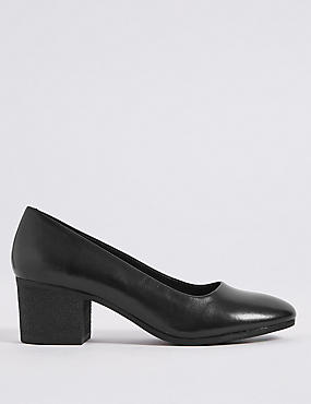 Leather Crepe Effect Court Shoes
