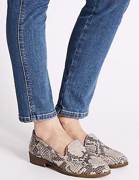 Leather Block Heel Loafers, NEUTRAL, catlanding