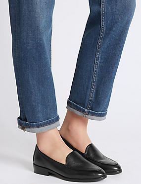 Leather Block Heel Loafers, BLACK, catlanding