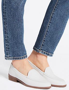 Leather Block Heel Loafers, WHITE, catlanding