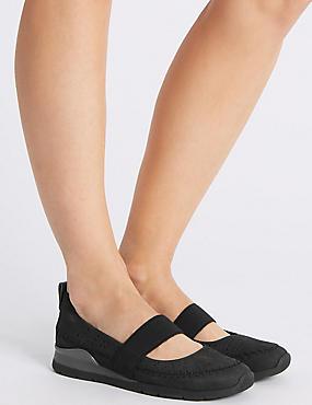Leather Elastic Ballet Pumps, BLACK, catlanding