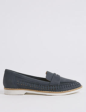 Leather Woven Side Detail Loafers