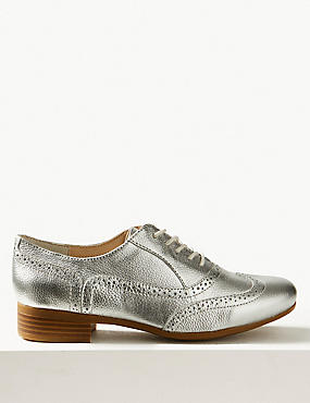 Leather Block Heel Brogue Shoes